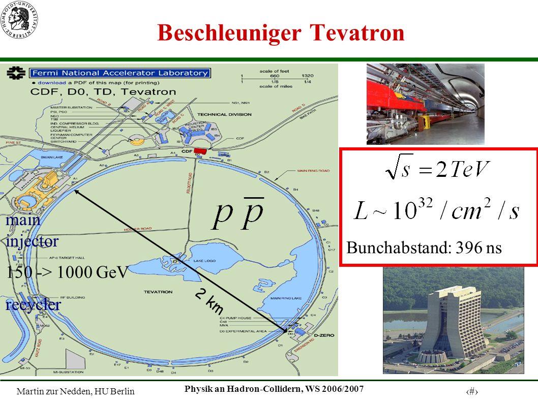 Martin zur Nedden, HU Berlin 3 Physik an Hadron-Collidern, WS 2006/2007 Beschleuniger Tevatron 150 -> 1000 GeV main injector recycler 2 km Bunchabstand: 396 ns