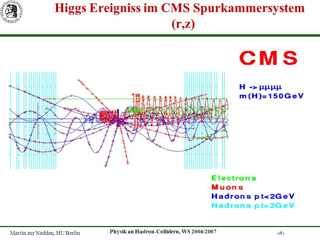 Martin zur Nedden, HU Berlin 30 Physik an Hadron-Collidern, WS 2006/2007 Higgs Ereigniss im CMS Spurkammersystem (r,z)