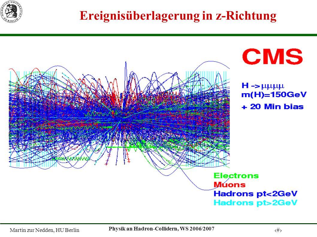 Martin zur Nedden, HU Berlin 32 Physik an Hadron-Collidern, WS 2006/2007 Ereignisüberlagerung in z-Richtung