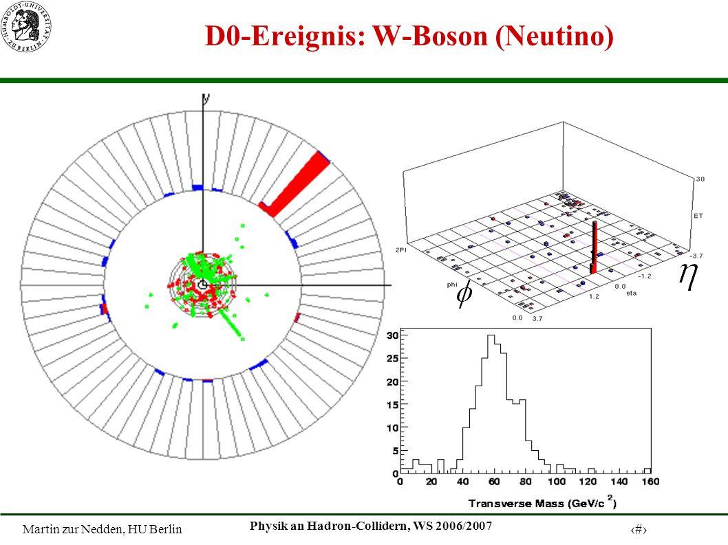 Martin zur Nedden, HU Berlin 9 Physik an Hadron-Collidern, WS 2006/2007 D0-Ereignis: W-Boson (Neutino)