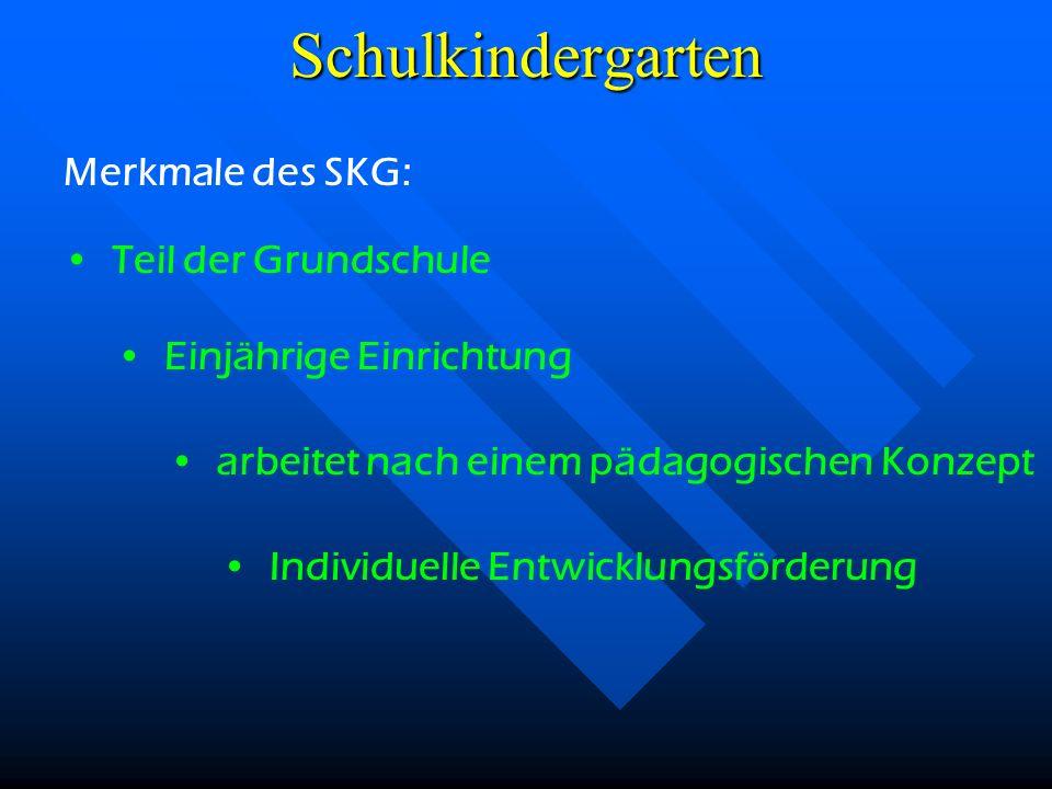 Grundschule Schulkindergarten Schulkindergarten als Teil der Grundschule
