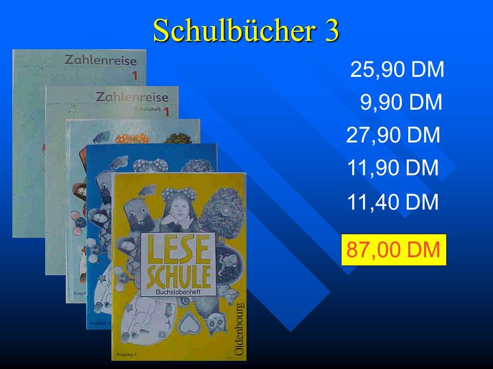 Schulbücher 2 Die folgenden Bücher sind beispielhaft ausgewählt worden.