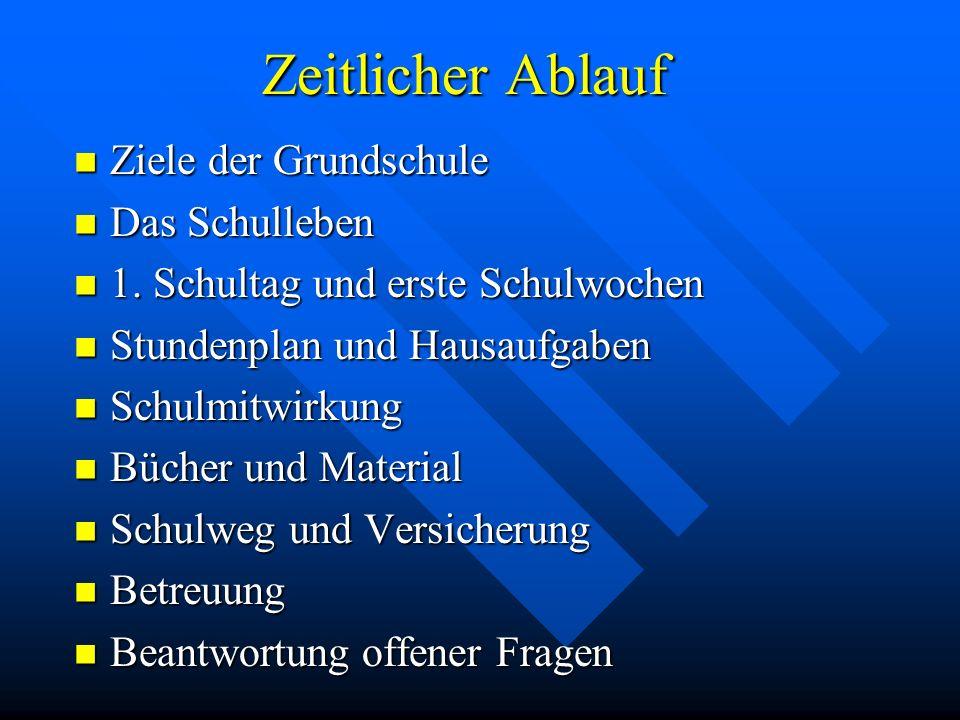 Ziele der Grundschule Das Schulleben 1.