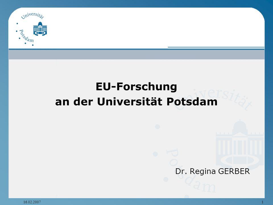 16.02.20071 EU-Forschung an der Universität Potsdam Dr. Regina GERBER