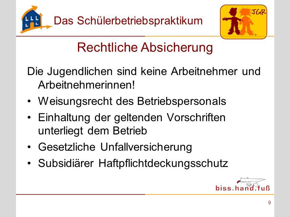 Das Schülerbetriebspraktikum 9 Rechtliche Absicherung Die Jugendlichen sind keine Arbeitnehmer und Arbeitnehmerinnen! Weisungsrecht des Betriebsperson