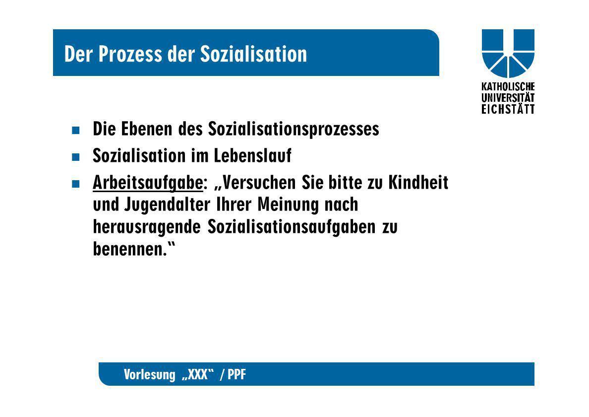 Vorlesung XXX / PPF Der Prozess der Sozialisation Die Ebenen des Sozialisationsprozesses Sozialisation im Lebenslauf Arbeitsaufgabe: Versuchen Sie bit