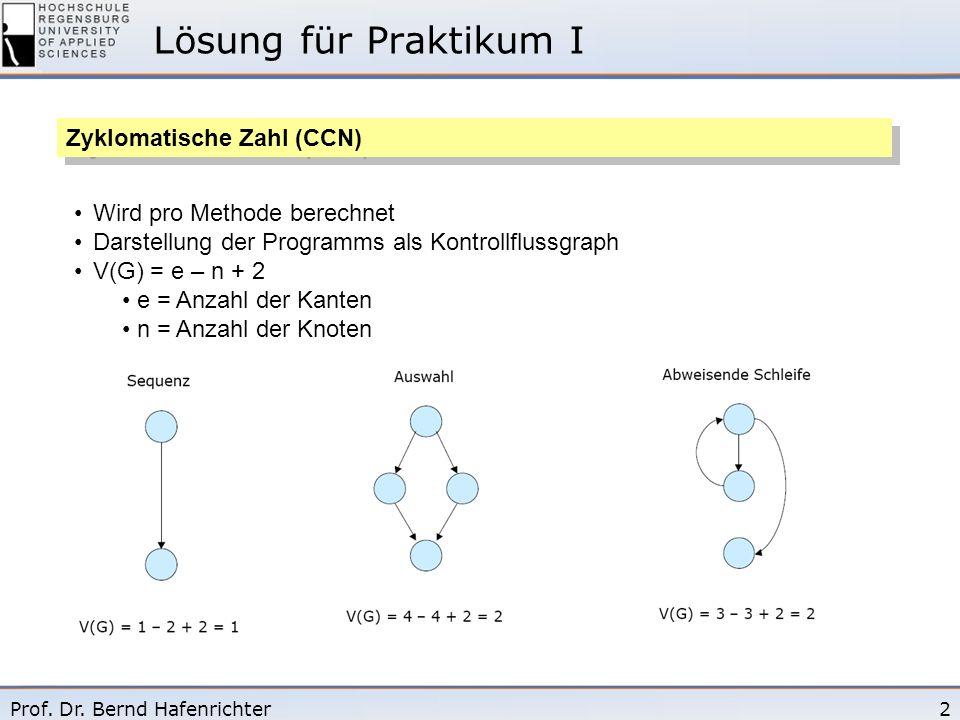 2Prof. Dr. Bernd Hafenrichter Lösung für Praktikum I Zyklomatische Zahl (CCN) Wird pro Methode berechnet Darstellung der Programms als Kontrollflussgr