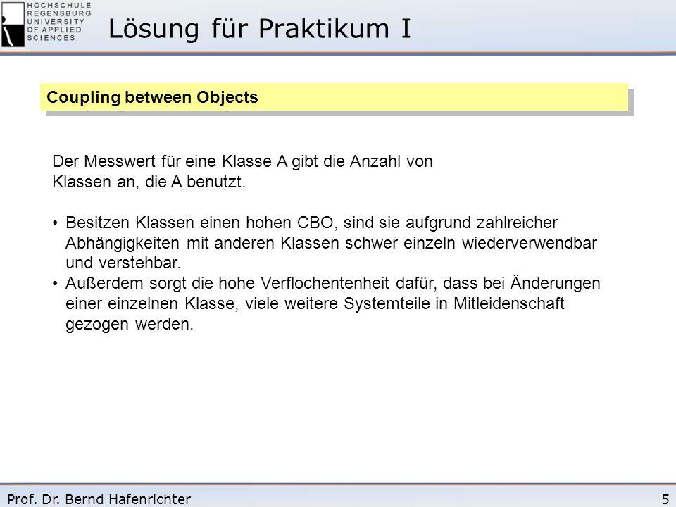 5Prof. Dr. Bernd Hafenrichter Lösung für Praktikum I Coupling between Objects Der Messwert für eine Klasse A gibt die Anzahl von Klassen an, die A ben