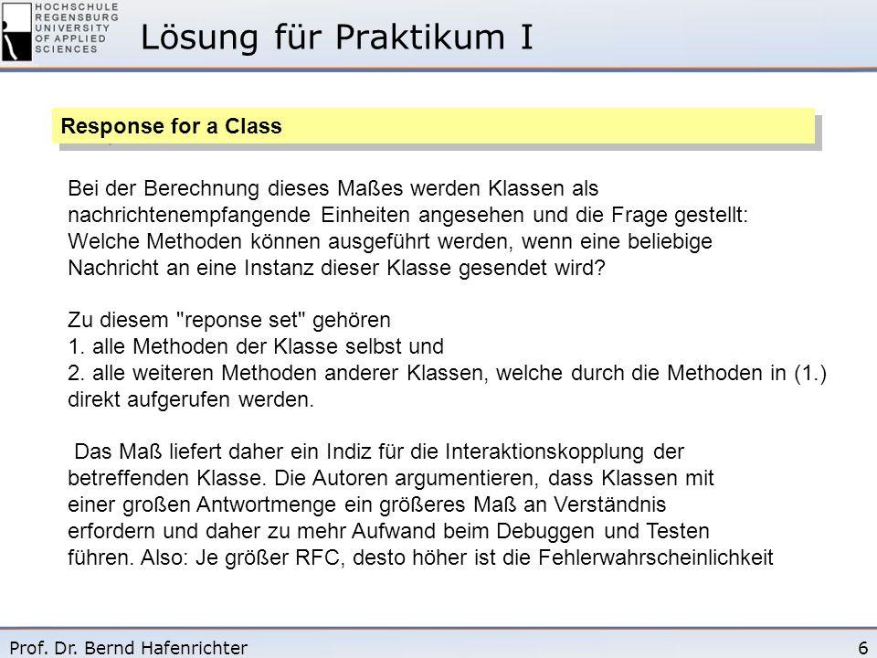 6Prof. Dr. Bernd Hafenrichter Lösung für Praktikum I Response for a Class Bei der Berechnung dieses Maßes werden Klassen als nachrichtenempfangende Ei