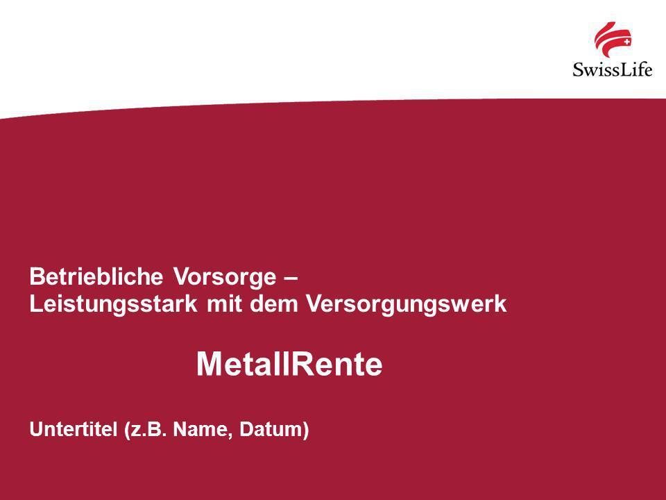 Titel der Präsentation, Name (-> Folienmaster) 1 Datum Untertitel (z.B. Name, Datum) Betriebliche Vorsorge – Leistungsstark mit dem Versorgungswerk Me