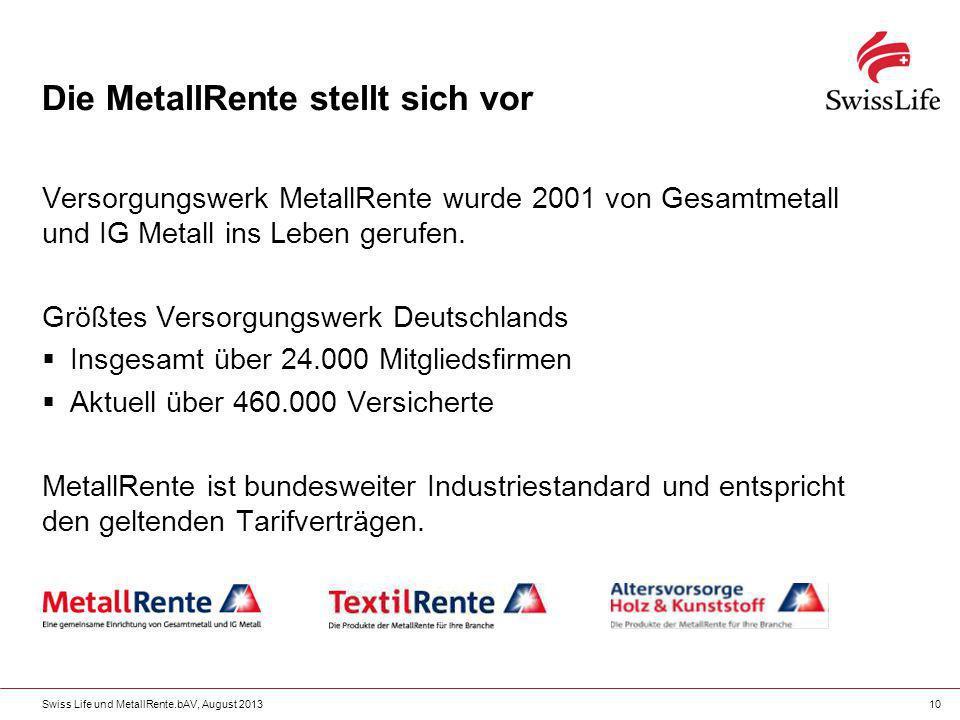 Swiss Life und MetallRente.bAV, August 201310 Die MetallRente stellt sich vor Versorgungswerk MetallRente wurde 2001 von Gesamtmetall und IG Metall in