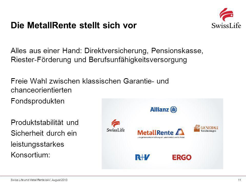 Swiss Life und MetallRente.bAV, August 201311 Die MetallRente stellt sich vor Alles aus einer Hand: Direktversicherung, Pensionskasse, Riester-Förderu
