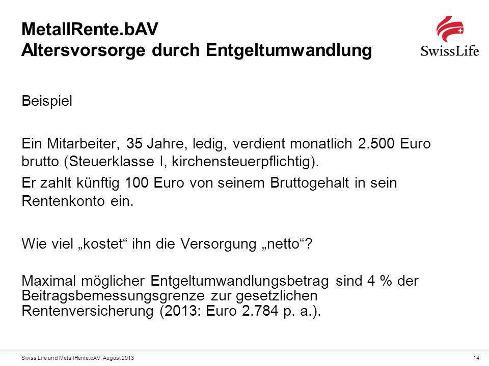 Swiss Life und MetallRente.bAV, August 201314 MetallRente.bAV Altersvorsorge durch Entgeltumwandlung Beispiel Ein Mitarbeiter, 35 Jahre, ledig, verdie