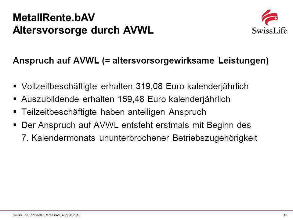 Swiss Life und MetallRente.bAV, August 201318 MetallRente.bAV Altersvorsorge durch AVWL Anspruch auf AVWL (= altersvorsorgewirksame Leistungen) Vollze