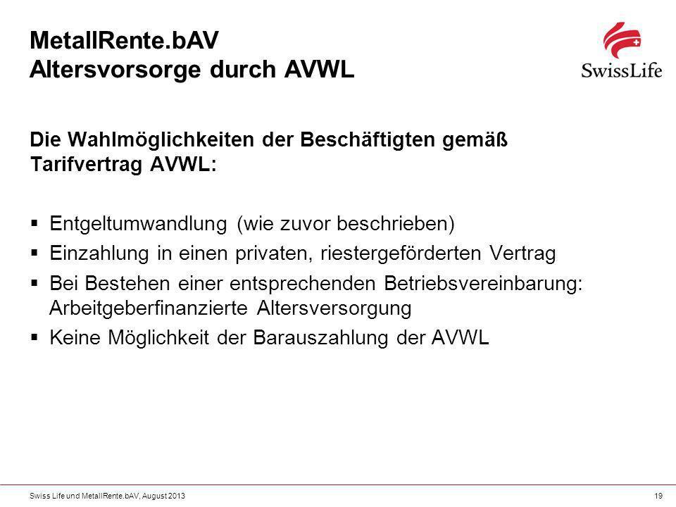 Swiss Life und MetallRente.bAV, August 201319 Die Wahlmöglichkeiten der Beschäftigten gemäß Tarifvertrag AVWL: Entgeltumwandlung (wie zuvor beschriebe