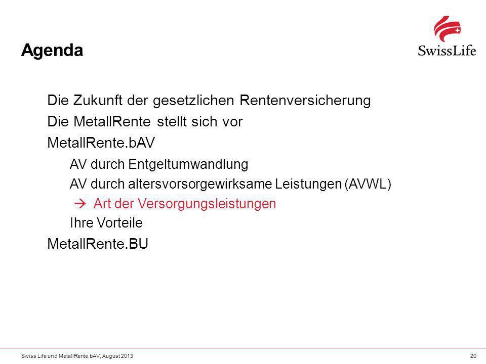 Swiss Life und MetallRente.bAV, August 201320 Agenda Die Zukunft der gesetzlichen Rentenversicherung Die MetallRente stellt sich vor MetallRente.bAV A
