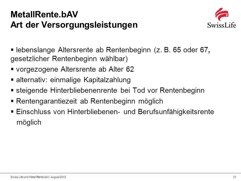 Swiss Life und MetallRente.bAV, August 201321 MetallRente.bAV Art der Versorgungsleistungen lebenslange Altersrente ab Rentenbeginn (z. B. 65 oder 67,