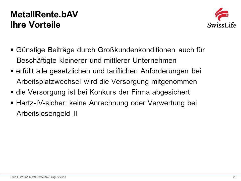 Swiss Life und MetallRente.bAV, August 201323 MetallRente.bAV Ihre Vorteile Günstige Beiträge durch Großkundenkonditionen auch für Beschäftigte kleine