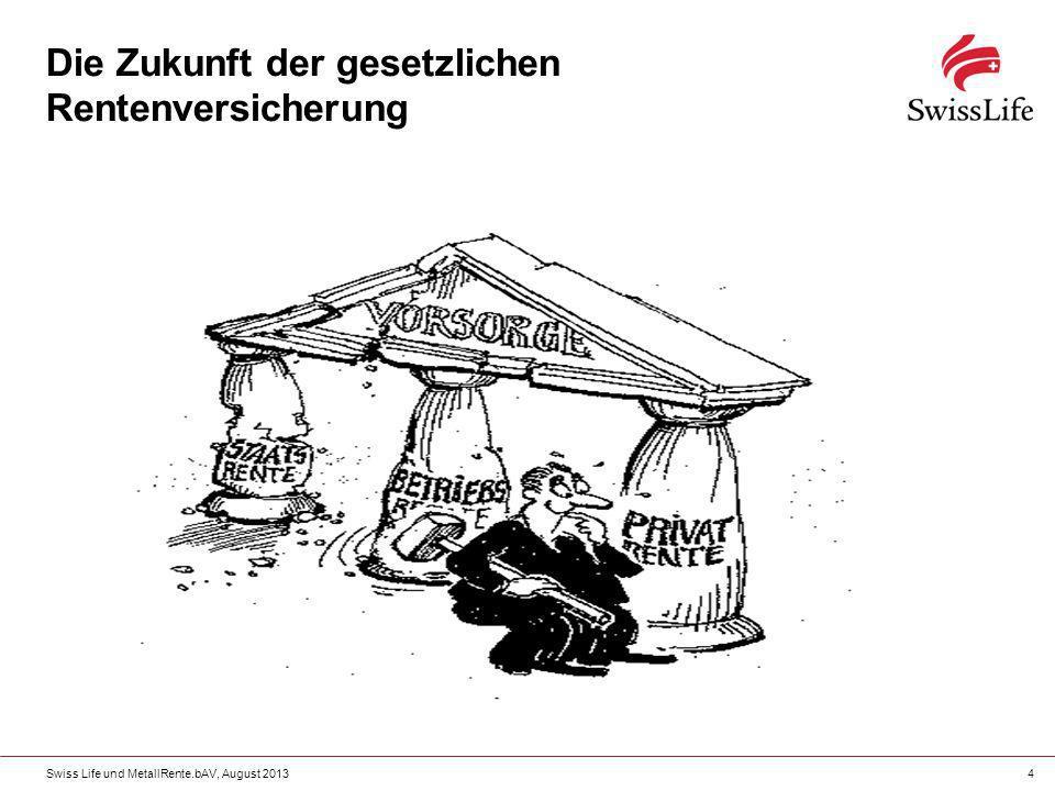 Swiss Life und MetallRente.bAV, August 20134 Die Zukunft der gesetzlichen Rentenversicherung