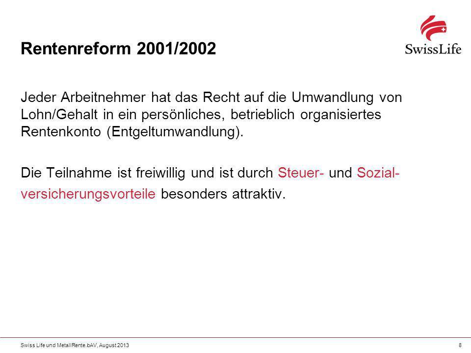 Swiss Life und MetallRente.bAV, August 20138 Rentenreform 2001/2002 Jeder Arbeitnehmer hat das Recht auf die Umwandlung von Lohn/Gehalt in ein persönl