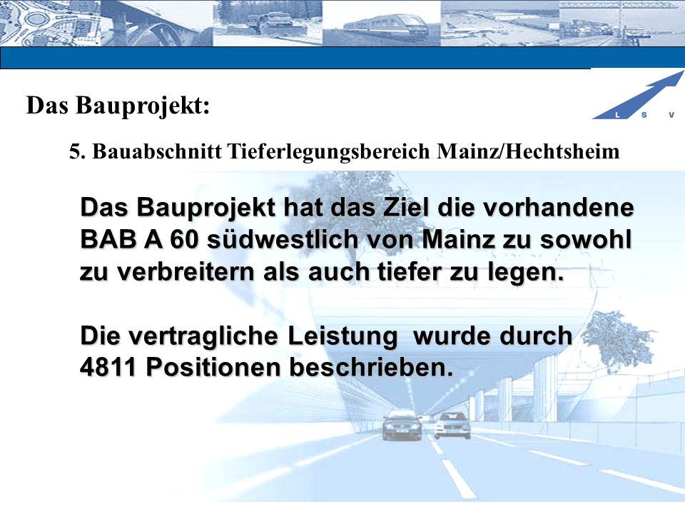 Das Bauprojekt: 5. Bauabschnitt Tieferlegungsbereich Mainz/Hechtsheim Das Bauprojekt hat das Ziel die vorhandene BAB A 60 südwestlich von Mainz zu sow