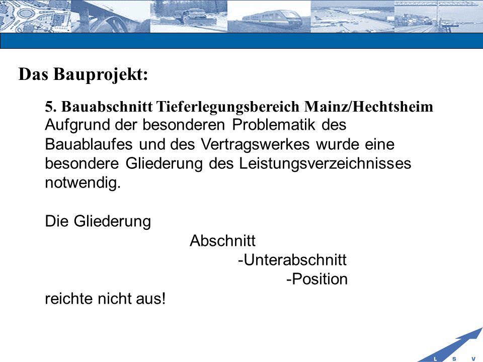 Das Bauprojekt: 5. Bauabschnitt Tieferlegungsbereich Mainz/Hechtsheim Aufgrund der besonderen Problematik des Bauablaufes und des Vertragswerkes wurde