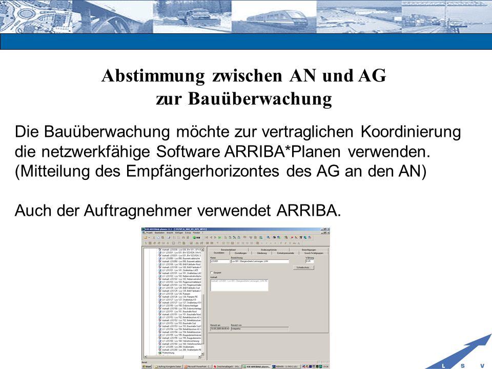 Abstimmung zwischen AN und AG zur Bauüberwachung Die Bauüberwachung möchte zur vertraglichen Koordinierung die netzwerkfähige Software ARRIBA*Planen v