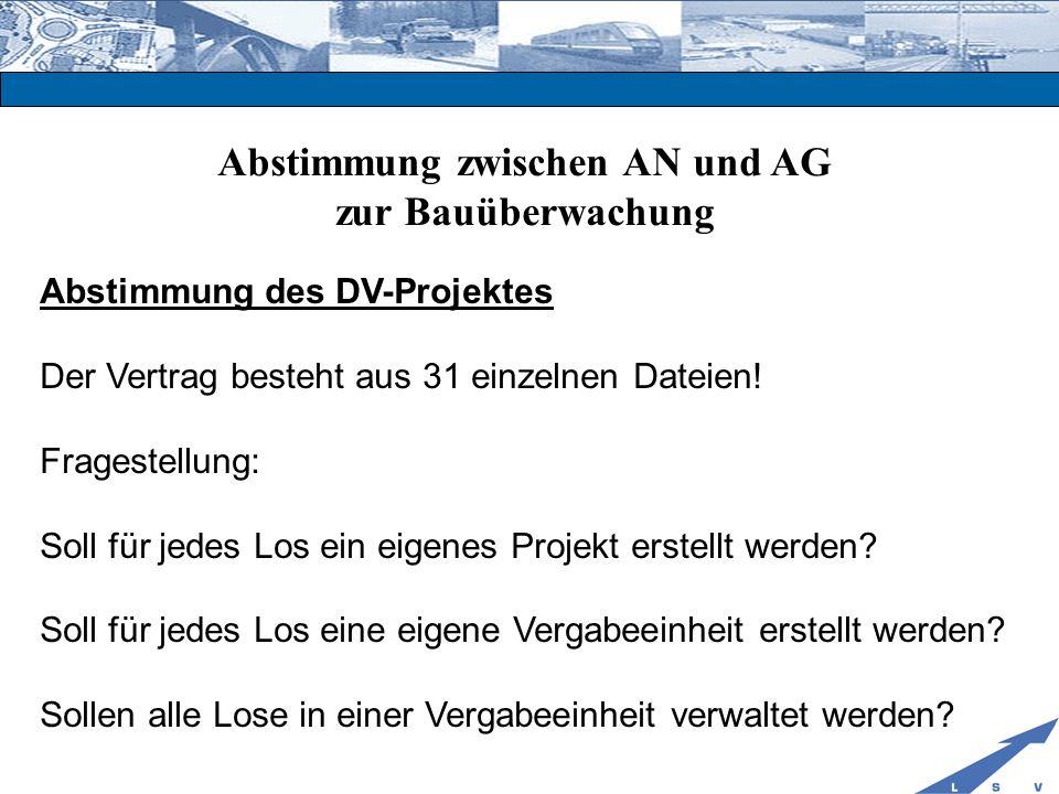 Abstimmung zwischen AN und AG zur Bauüberwachung Abstimmung des DV-Projektes Der Vertrag besteht aus 31 einzelnen Dateien! Fragestellung: Soll für jed