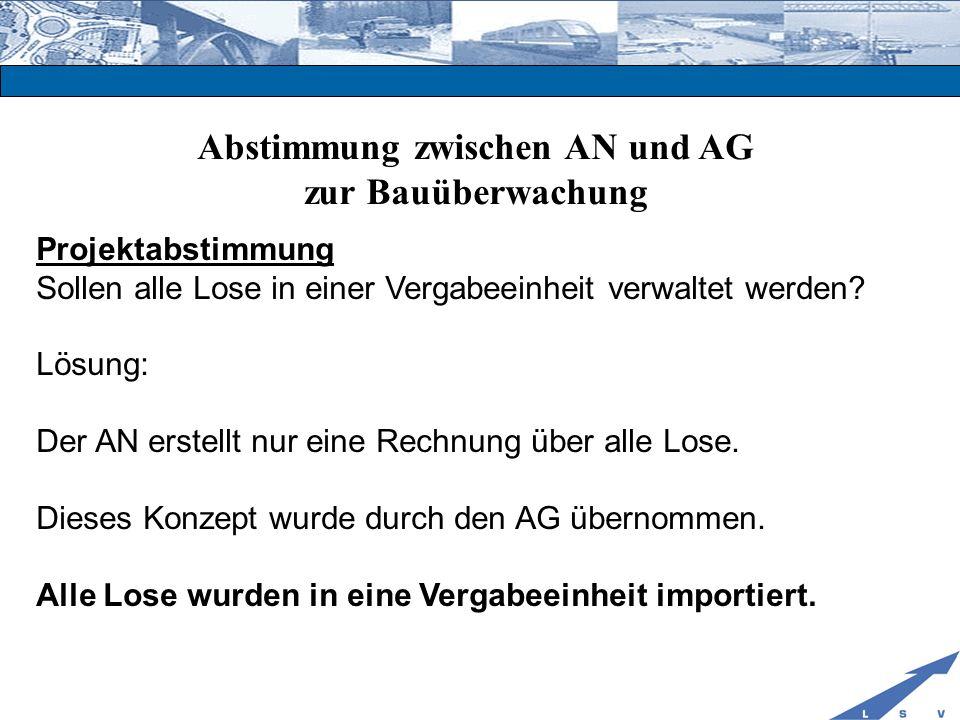 Abstimmung zwischen AN und AG zur Bauüberwachung Projektabstimmung Sollen alle Lose in einer Vergabeeinheit verwaltet werden? Lösung: Der AN erstellt