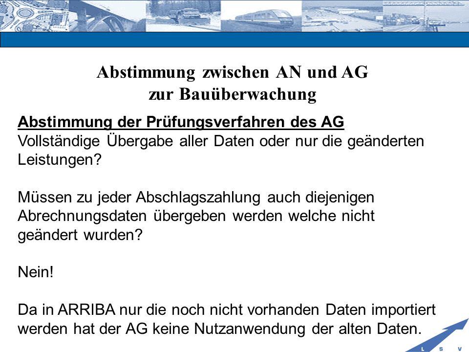 Abstimmung zwischen AN und AG zur Bauüberwachung Abstimmung der Prüfungsverfahren des AG Vollständige Übergabe aller Daten oder nur die geänderten Lei
