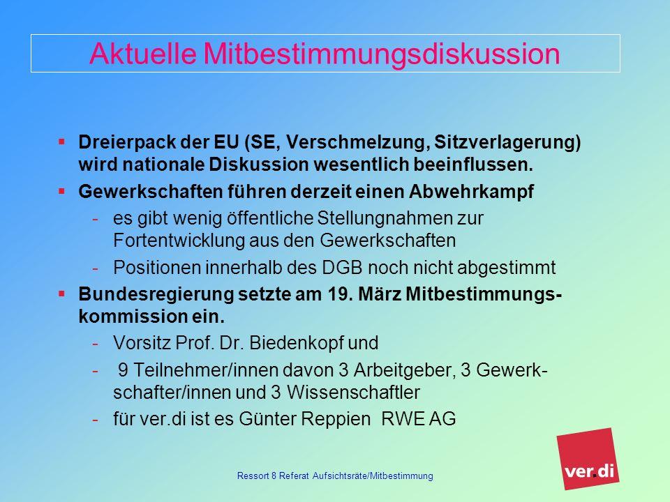 Ressort 8 Referat Aufsichtsräte/Mitbestimmung Diskussionsvorschlag des FB 02 ver.di muss sich inhaltlich positionieren gemeinsames agieren mit dem DGB, Hans-Böckler-Stiftung und den anderen Gewerkschaften ist notwendig Diskussion darf sich nicht nur um das Niveau der Mitbestimmung drehen Arbeitsdirektoren mit gewerkschaftlicher Anbindung müssen einbezogen werden auf europäischer Ebene müssen unser Partner- gewerkschaften an der Diskussion beteiligt werden Bericht der Kommission ist im Herbst 2006 zu erwarten