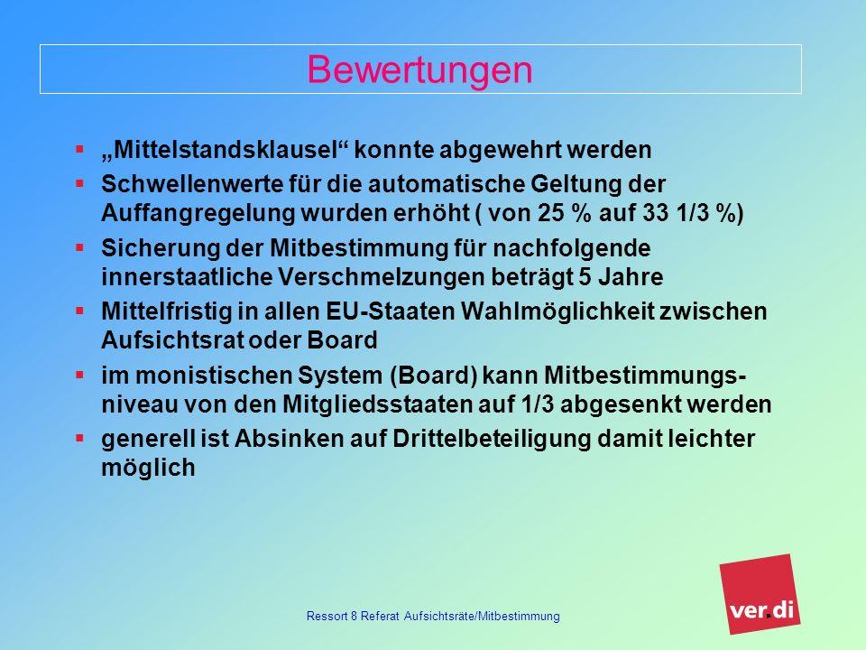 Ressort 8 Referat Aufsichtsräte/Mitbestimmung Aktuelle Mitbestimmungsdiskussion Dreierpack der EU (SE, Verschmelzung, Sitzverlagerung) wird nationale Diskussion wesentlich beeinflussen.