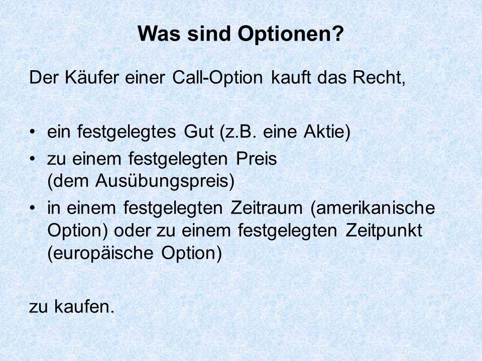 VerkäuferKäufer Option Optionspreis Kursentwicklung Ausübung: Käufer kauft das Gut zum Ausübungspreis der Option Keine Ausübung Ablauf eines Call-Optionsgeschäfts