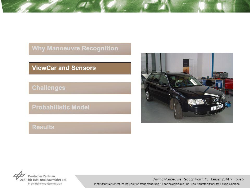 Institut für Verkehrsführung und Fahrzeugsteuerung > Technologien aus Luft- und Raumfahrt für Straße und Schiene Driving Manoeuvre Recognition > 19.
