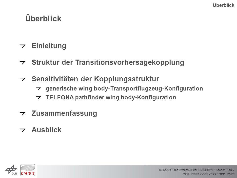 Andreas Krumbein, DLR, AS, C 2 A 2 S 2 E > Aachen, 4.11.2008 16. DGLR-Fach-Symposium der STAB > RWTH Aachen, Folie 2 Überblick Einleitung Struktur der