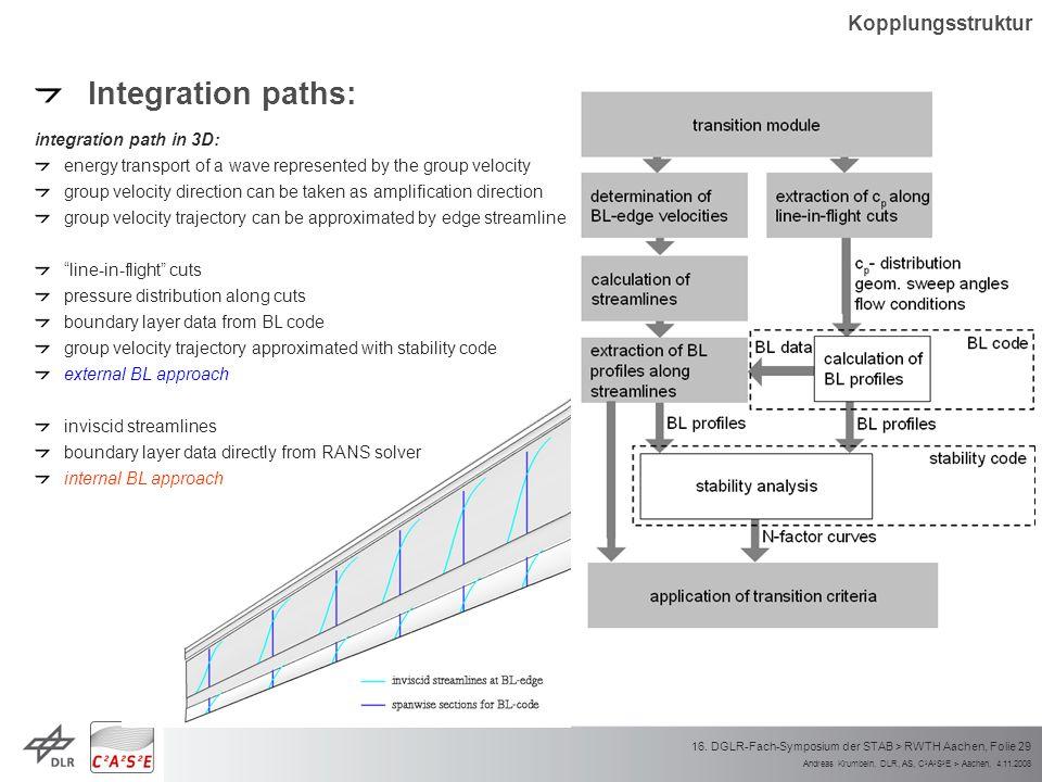 Andreas Krumbein, DLR, AS, C 2 A 2 S 2 E > Aachen, 4.11.2008 16. DGLR-Fach-Symposium der STAB > RWTH Aachen, Folie 29 Integration paths: integration p
