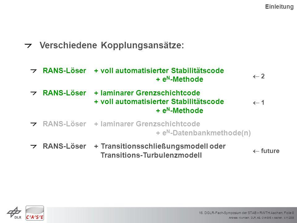 Andreas Krumbein, DLR, AS, C 2 A 2 S 2 E > Aachen, 4.11.2008 16. DGLR-Fach-Symposium der STAB > RWTH Aachen, Folie 8 Verschiedene Kopplungsansätze: RA