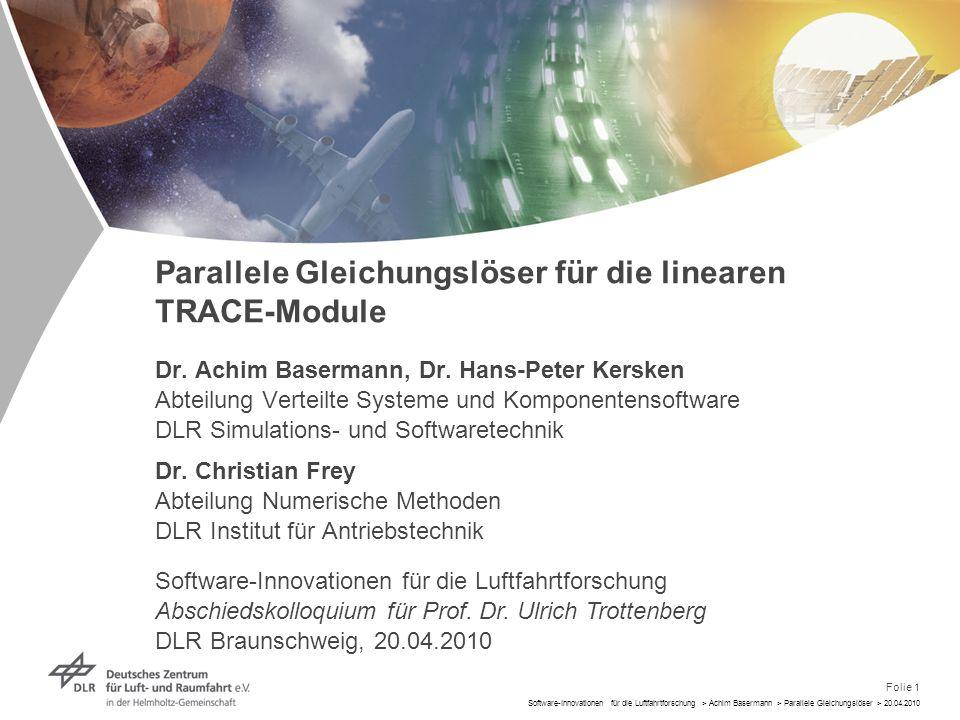 Folie 1 Software-Innovationen für die Luftfahrtforschung > Achim Basermann > Parallele Gleichungslöser > 20.04.2010 Dr. Achim Basermann, Dr. Hans-Pete