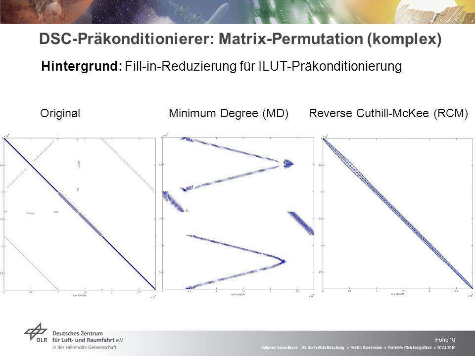 Folie 10 Software-Innovationen für die Luftfahrtforschung > Achim Basermann > Parallele Gleichungslöser > 20.04.2010 DSC-Präkonditionierer: Matrix-Per
