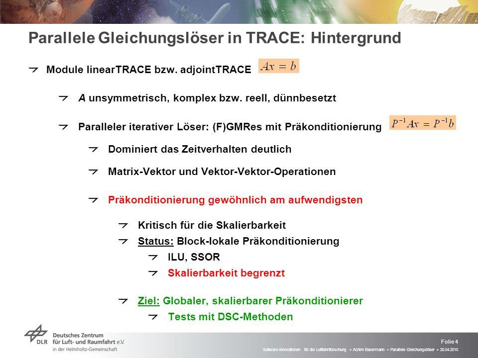 Folie 4 Software-Innovationen für die Luftfahrtforschung > Achim Basermann > Parallele Gleichungslöser > 20.04.2010 Parallele Gleichungslöser in TRACE