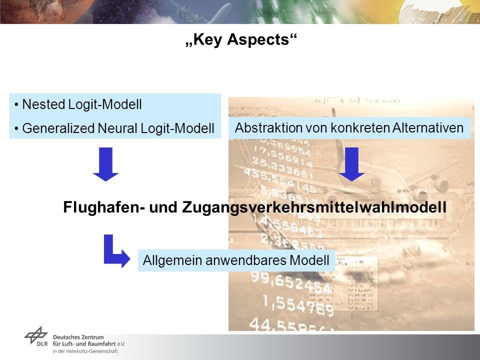 Key Aspects Discrete Choice Flughafen- und Zugangsverkehrsmittelwahlmodell Abstraktion von konkreten Alternativen Allgemein anwendbares Modell Nested