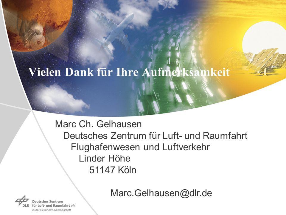 Vielen Dank für Ihre Aufmerksamkeit Marc Ch. Gelhausen Deutsches Zentrum für Luft- und Raumfahrt Flughafenwesen und Luftverkehr Linder Höhe 51147 Köln