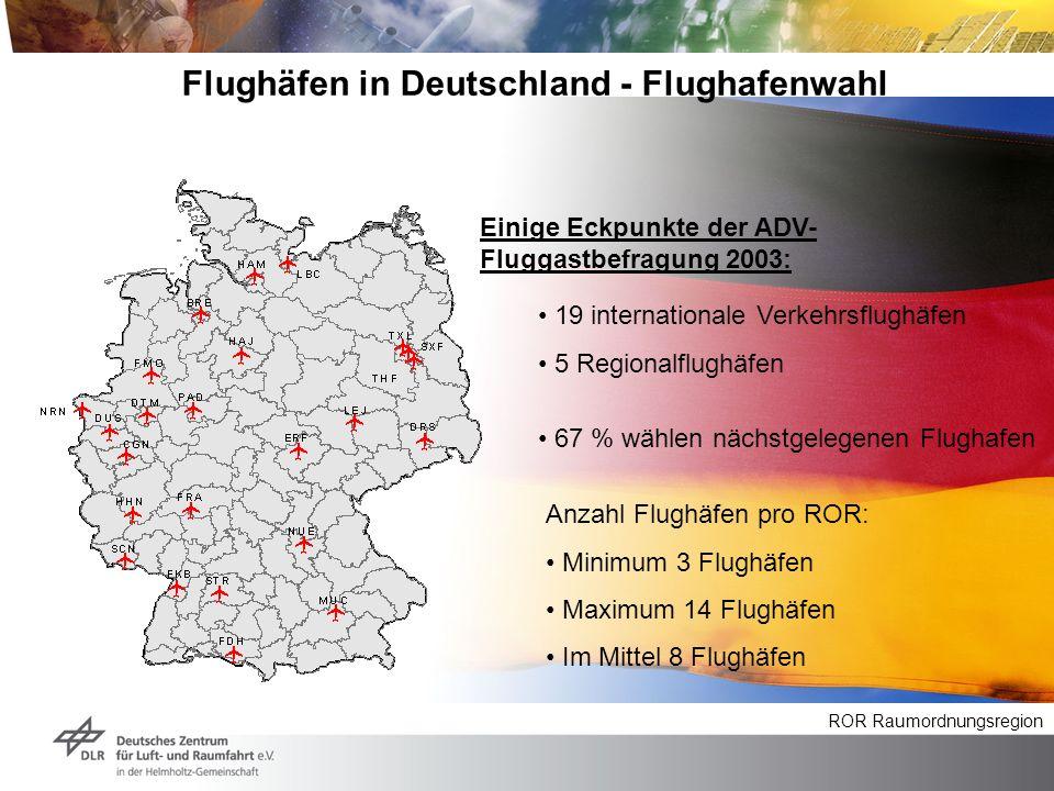 Flughäfen in Deutschland - Flughafenwahl 19 internationale Verkehrsflughäfen 5 Regionalflughäfen Anzahl Flughäfen pro ROR: Minimum 3 Flughäfen Maximum