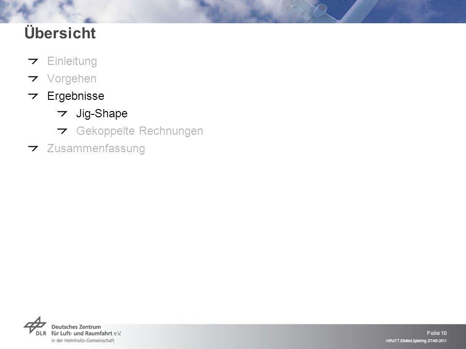 Folie 10 HiReTT.Eisfeld.Spiering.STAB-2011 Übersicht Einleitung Vorgehen Ergebnisse Jig-Shape Gekoppelte Rechnungen Zusammenfassung