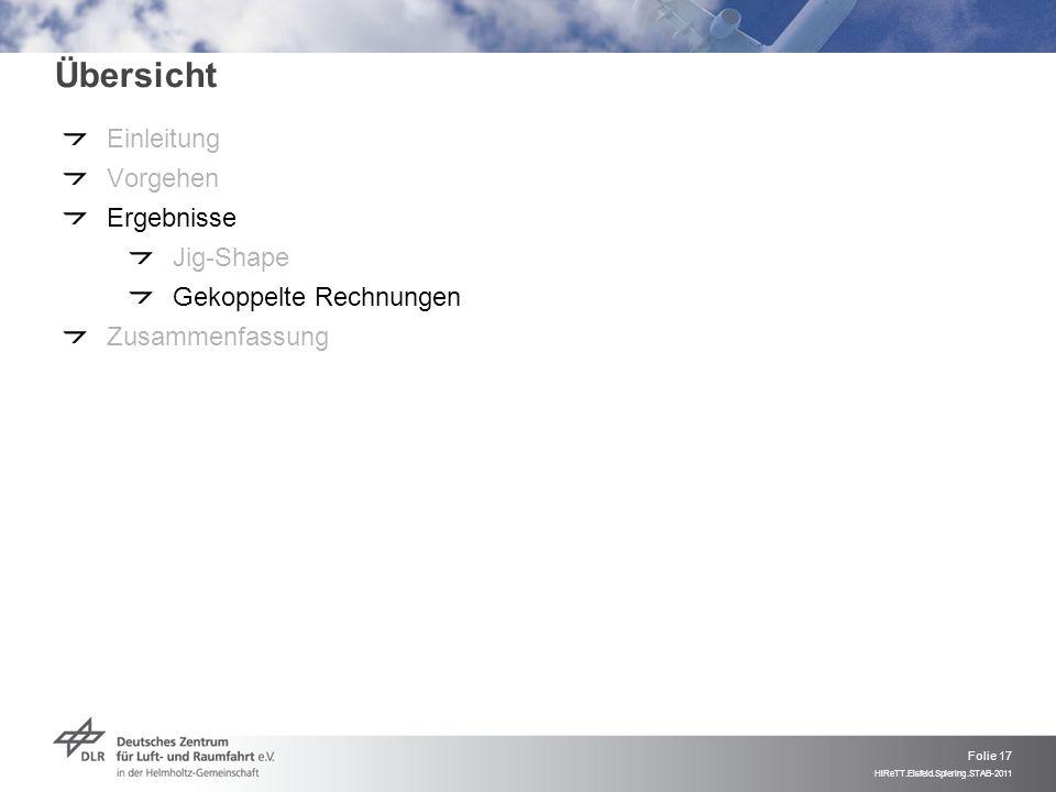 Folie 17 HiReTT.Eisfeld.Spiering.STAB-2011 Übersicht Einleitung Vorgehen Ergebnisse Jig-Shape Gekoppelte Rechnungen Zusammenfassung