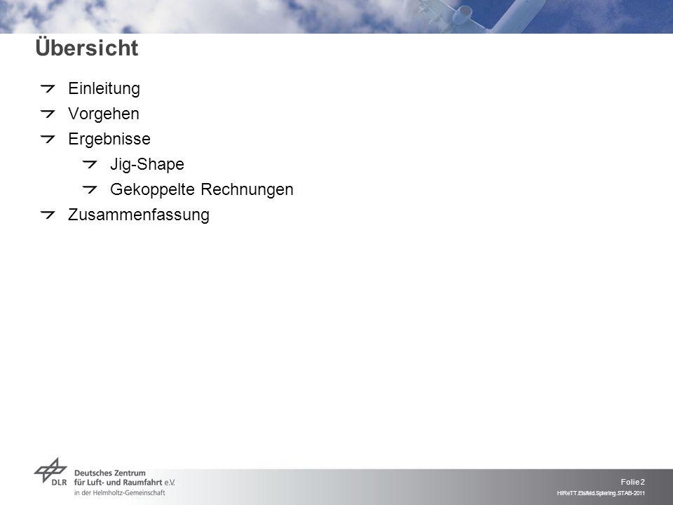 Folie 2 HiReTT.Eisfeld.Spiering.STAB-2011 Übersicht Einleitung Vorgehen Ergebnisse Jig-Shape Gekoppelte Rechnungen Zusammenfassung