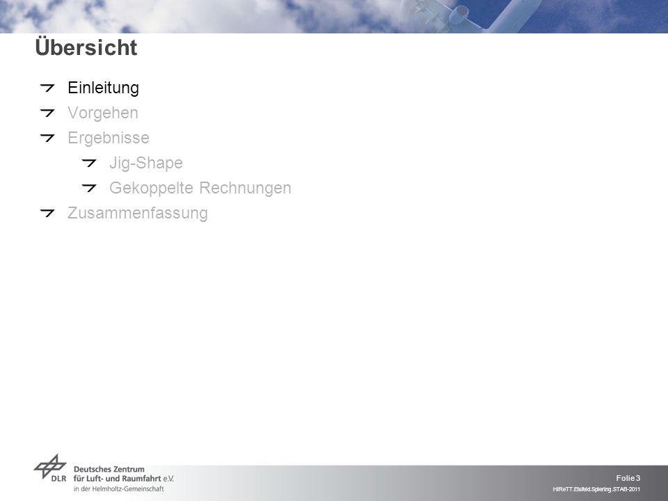 Folie 3 HiReTT.Eisfeld.Spiering.STAB-2011 Übersicht Einleitung Vorgehen Ergebnisse Jig-Shape Gekoppelte Rechnungen Zusammenfassung