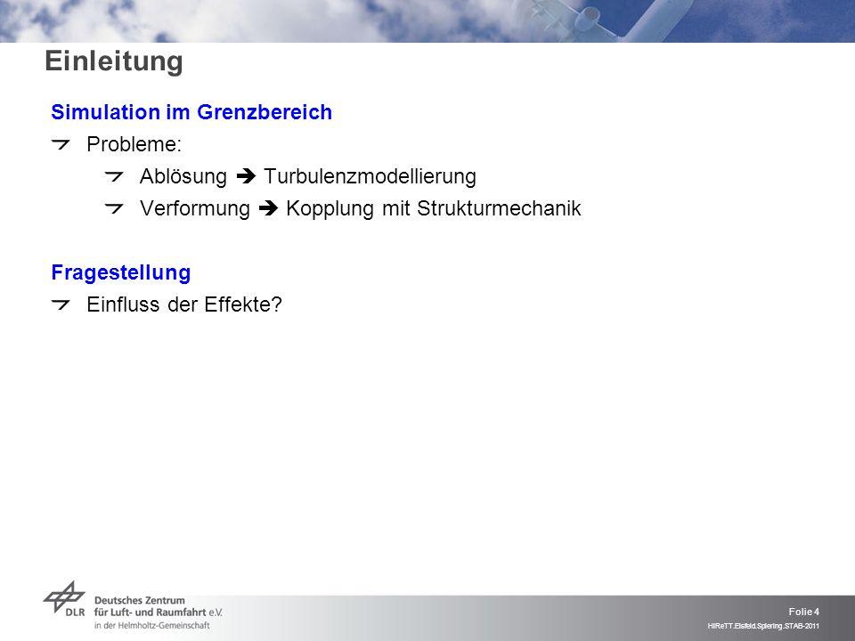 Folie 5 HiReTT.Eisfeld.Spiering.STAB-2011 Einleitung HiReTT-Konfiguration EU-Projekt HiReTT (2000-2003) Thema: Einfluss hoher Reynolds-Zahlen Messungen im ETW (Ma = 0.85, Re = 32.5e6) Ergebnis: Modell verformt sich EU-Project ATAAC (2009-2012) Thema: Höherwertige Turbulenzmodellierung Testfall HiReTT Unbefriedigende Ergebnisse für starre Geometrie (C3) Keine Verbesserung durch Kopplung mit vereinfachtem Strukturmodell Jetzt Kopplung mit FEM-Modell Verschiedene Turbulenzmodelle