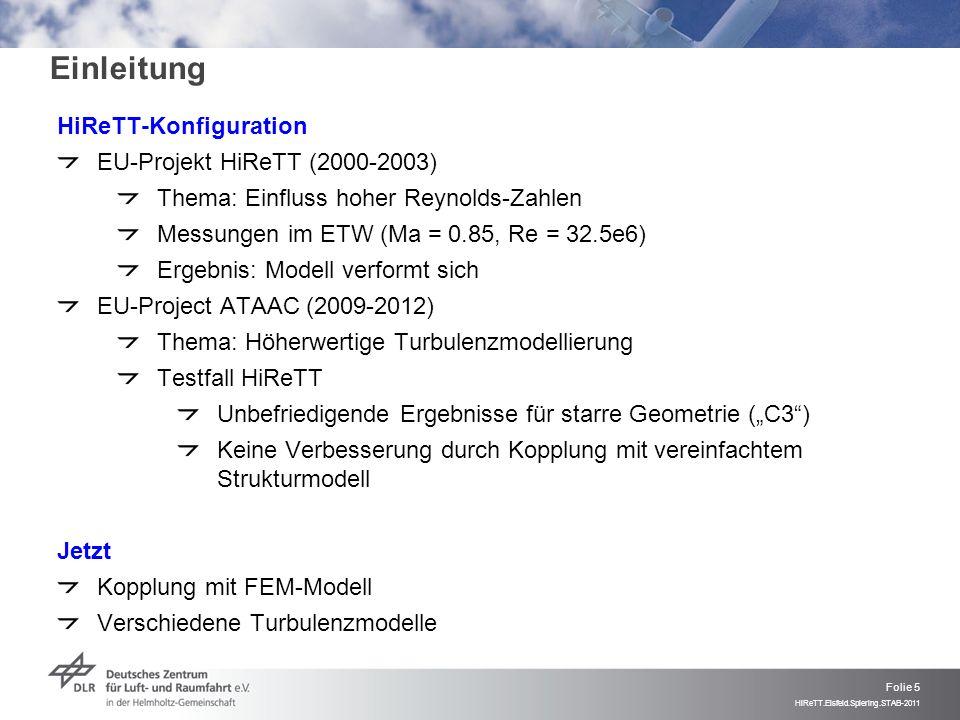 Folie 5 HiReTT.Eisfeld.Spiering.STAB-2011 Einleitung HiReTT-Konfiguration EU-Projekt HiReTT (2000-2003) Thema: Einfluss hoher Reynolds-Zahlen Messunge