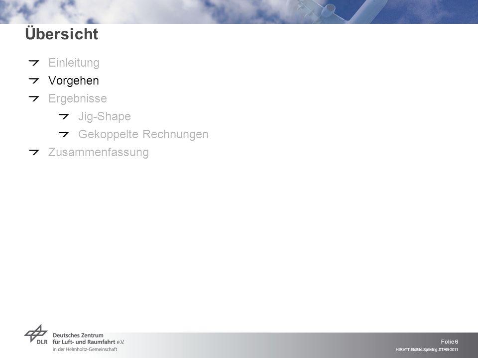 Folie 6 HiReTT.Eisfeld.Spiering.STAB-2011 Übersicht Einleitung Vorgehen Ergebnisse Jig-Shape Gekoppelte Rechnungen Zusammenfassung